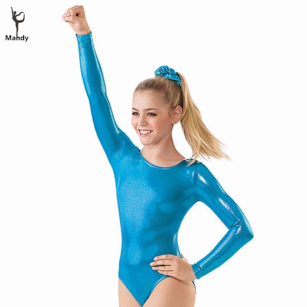 02dba4ae8 2019 Mandy Lycra Spandex Child Gymnastics Leotards Girls Shiny Long Sleeve  Leotards Kids Metallic Ballet Dance For Youth From Cutee, $23.29    DHgate.Com