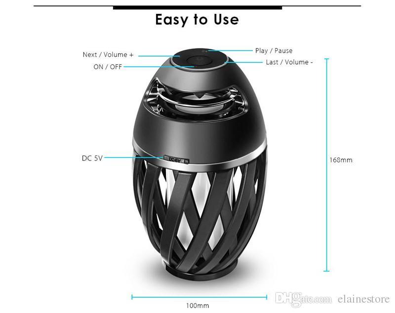 LED-Flammenatmosphäre Bluetooth-Lautsprecher Trinkbare A1 Wireless Bluetooth-Stereo-Lautsprecher-Subwoofer für iPhone Samsung MP3 mit Retail-Box
