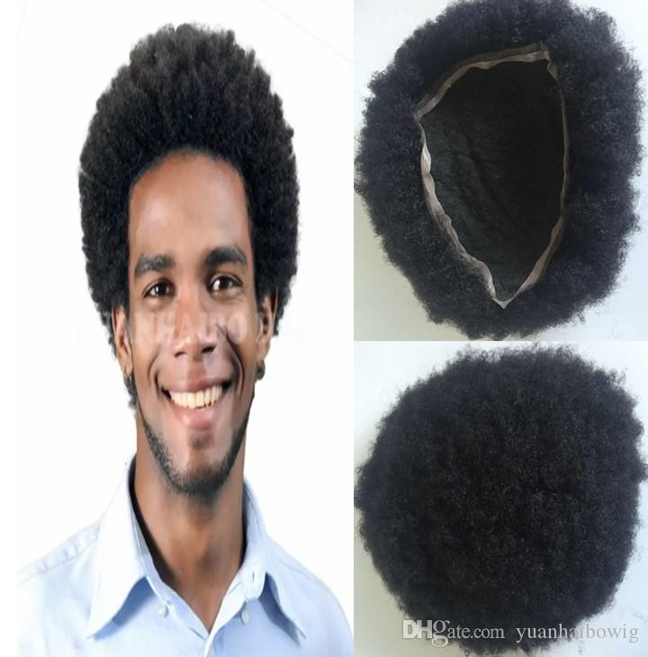 stock full lace toupee afro curl mens wig hairpiece toupee for black men human hair black color short indian remy hair