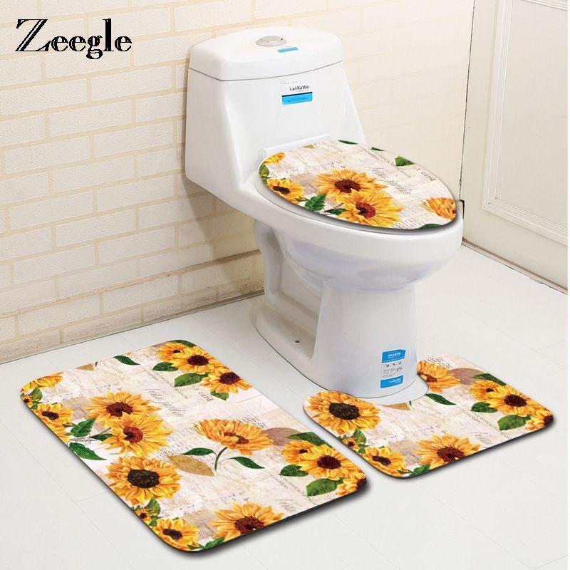 48 Zeegle Creative Bathroom Bath Mat Set Washable Toilet Rug Best Bathroom Baths Creative