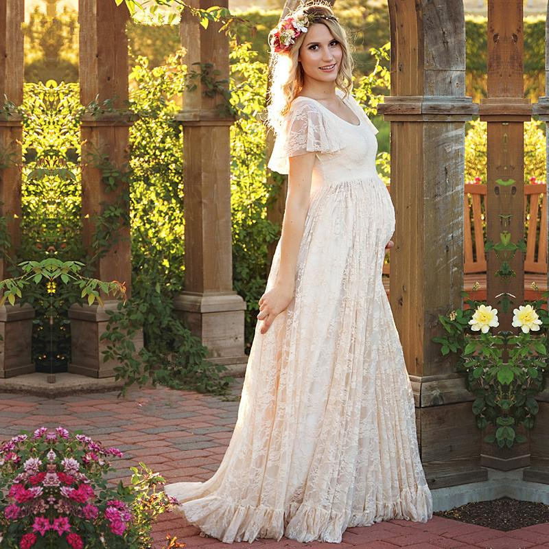afbff5992fd 2019 New Maternity Photography Props White Pink Light Yellow Maxi Dress  Elegant Pregnancy Photo Shoot Women Maternity Lace Dress From Paradise02