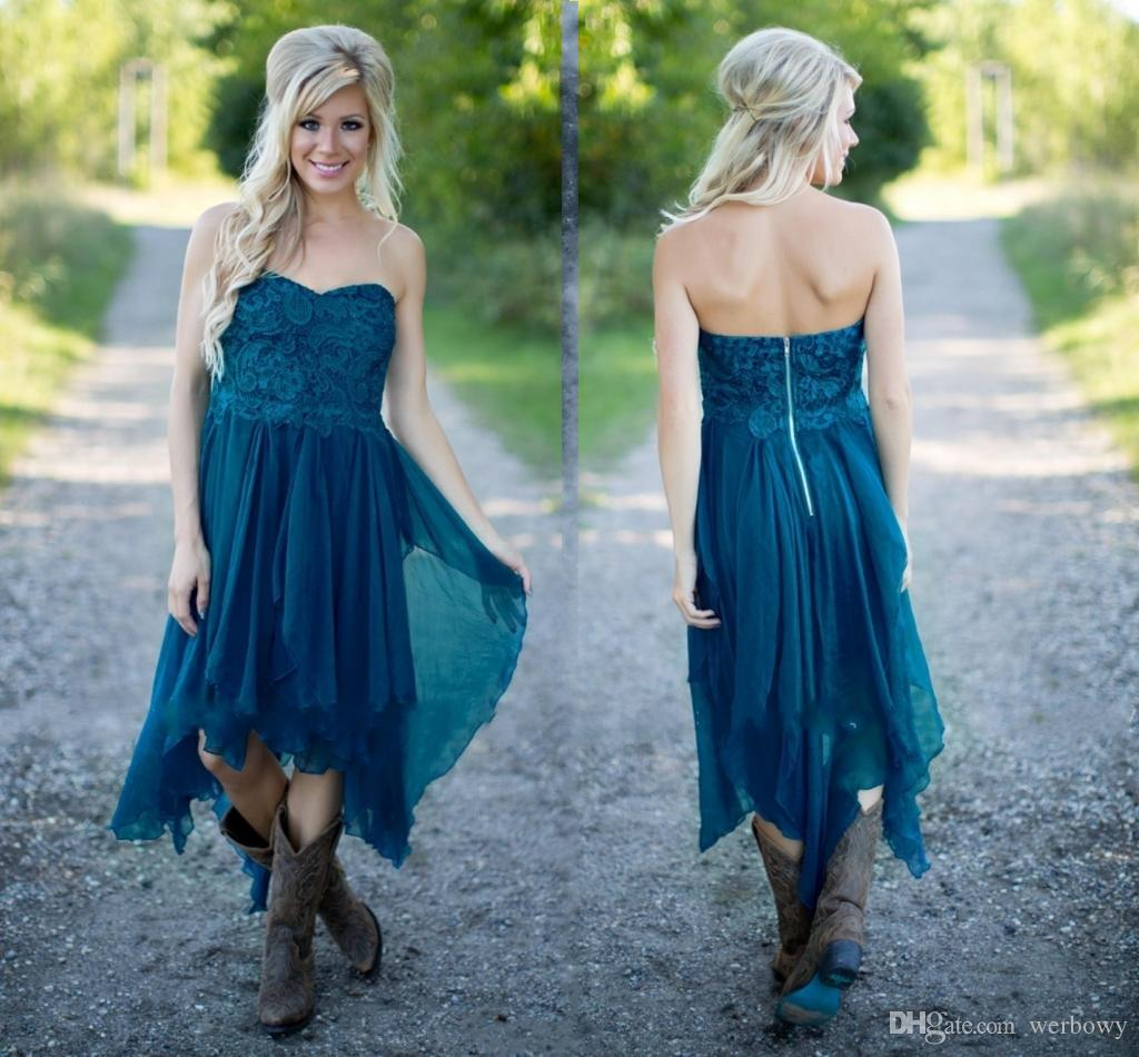 Country Bridesmaid Dresses Short Hot Cheap For Wedding Teal Chiffon Beach Lace High Low Ruffles Party Maid Honor Gowns Under HY253