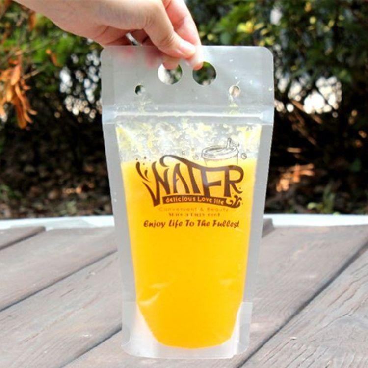 13*23cm Transparent hand-held beverage, juice bag and sanding bag 500ml cold and hot drink self sealing bag T4H0305
