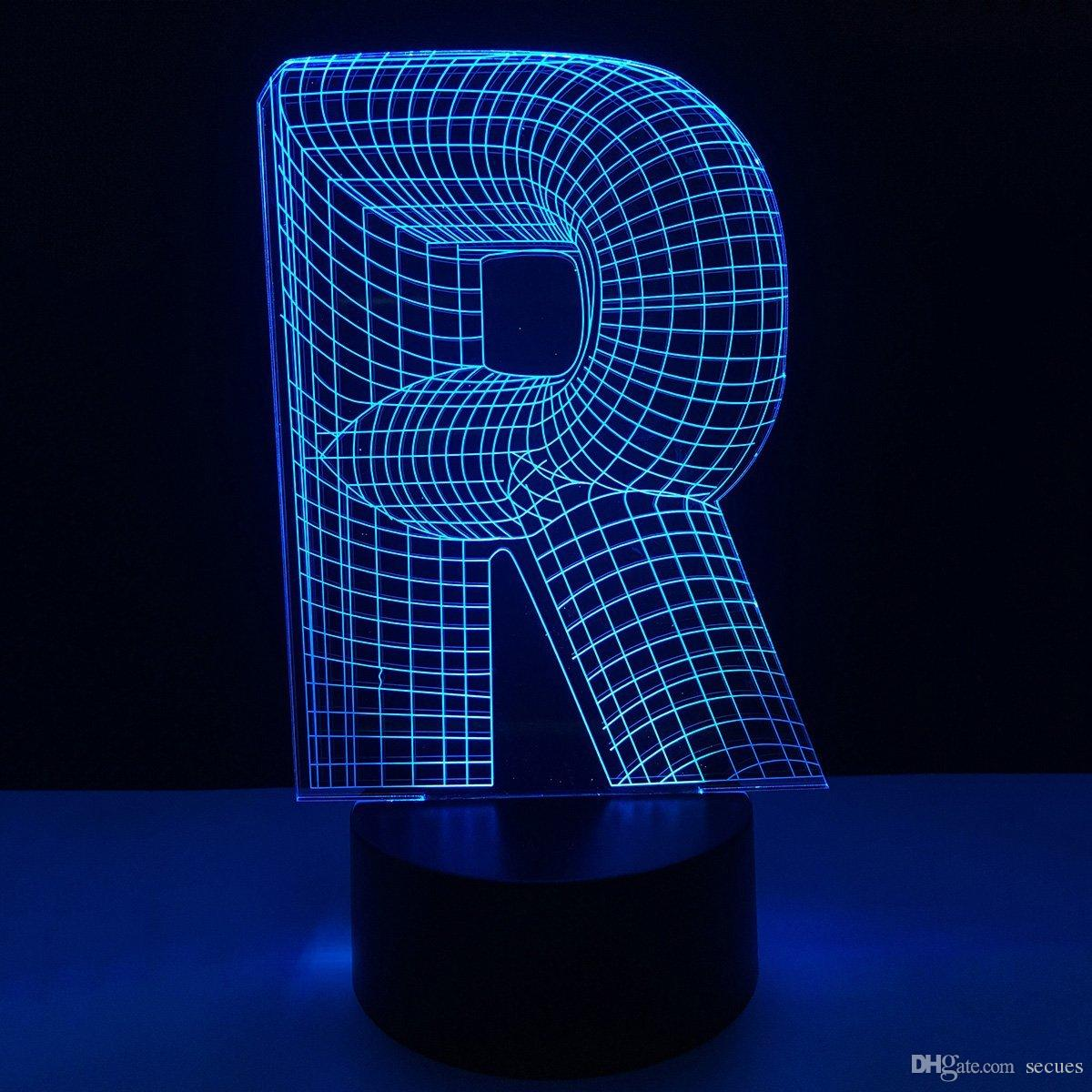 R Shape 3D Illusion Lamp 3D Optical LED Lamp Letters Decoration Light DC 5V USB Powered 5th Battery Wholesale Free Shipping
