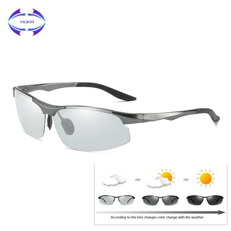b2b8c861b2 Compre VCKA Aluminio Magnesio Conducción Gafas De Sol Fotocromáticas Hombres  Camaleón Polarizado Gafas De Sol Gafas De Sol Masculino D18102305 A $24.22  Del ...