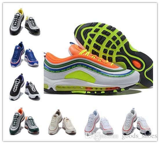 8816cdbdf930ff Hot Sale 97 Running Shoes Just Do It Black Total Orange White Paint ...