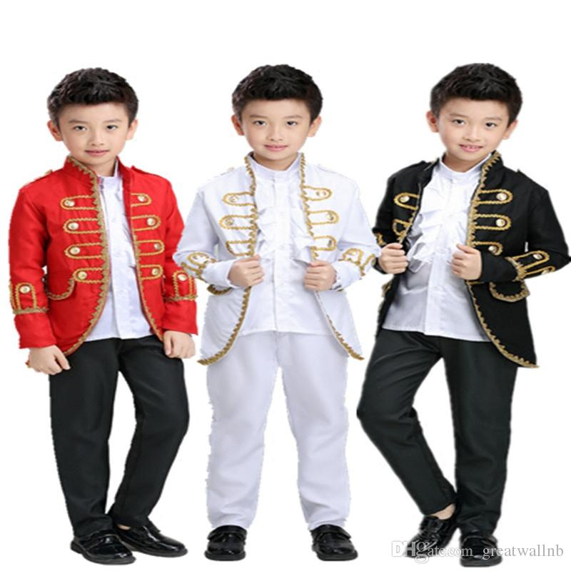 Free Ship Children S Boys Medieval Suit Prince Stage Performance