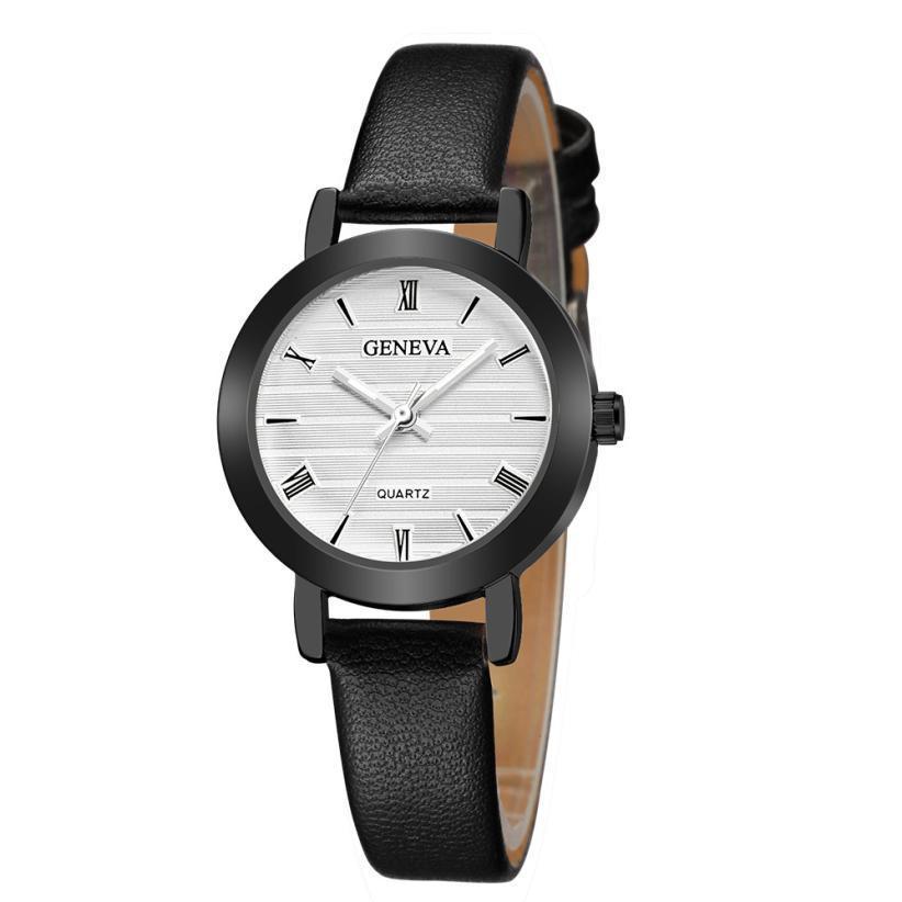 6e99ca4e84c6 New Fashion Geneva Women Leather Band Stainless Steel Quartz Analog Wrist  Watch Sevgili Saatleri Bay Bayan Relojes Para Hombre Low Price Watches  Wristwatch ...