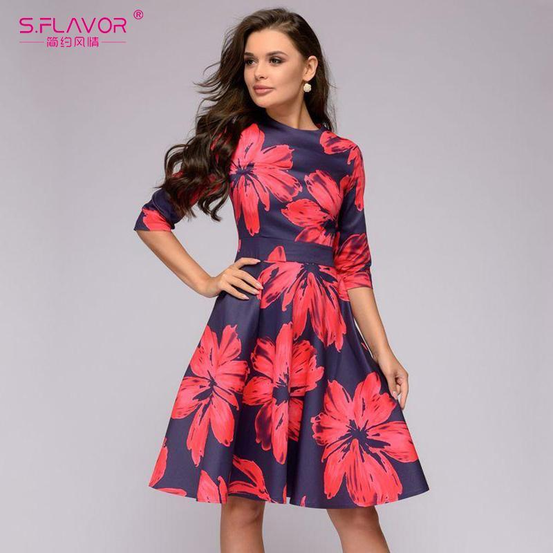 7d5c21869d3e S.FLAVOR Vestido corto estampado de flores rojas para mujer Vestido casual  otoñal de moda en invierno A-line Vestido elegante de manga 3/4