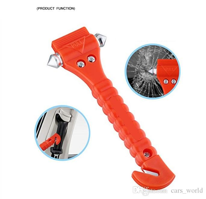 2In1 Car Safety Antiskid Hammer Seatbelt Cutter Emergency Class/Window Punch Breaker Auto Rescue Disaster Escape Life-Saving Hammer Tool