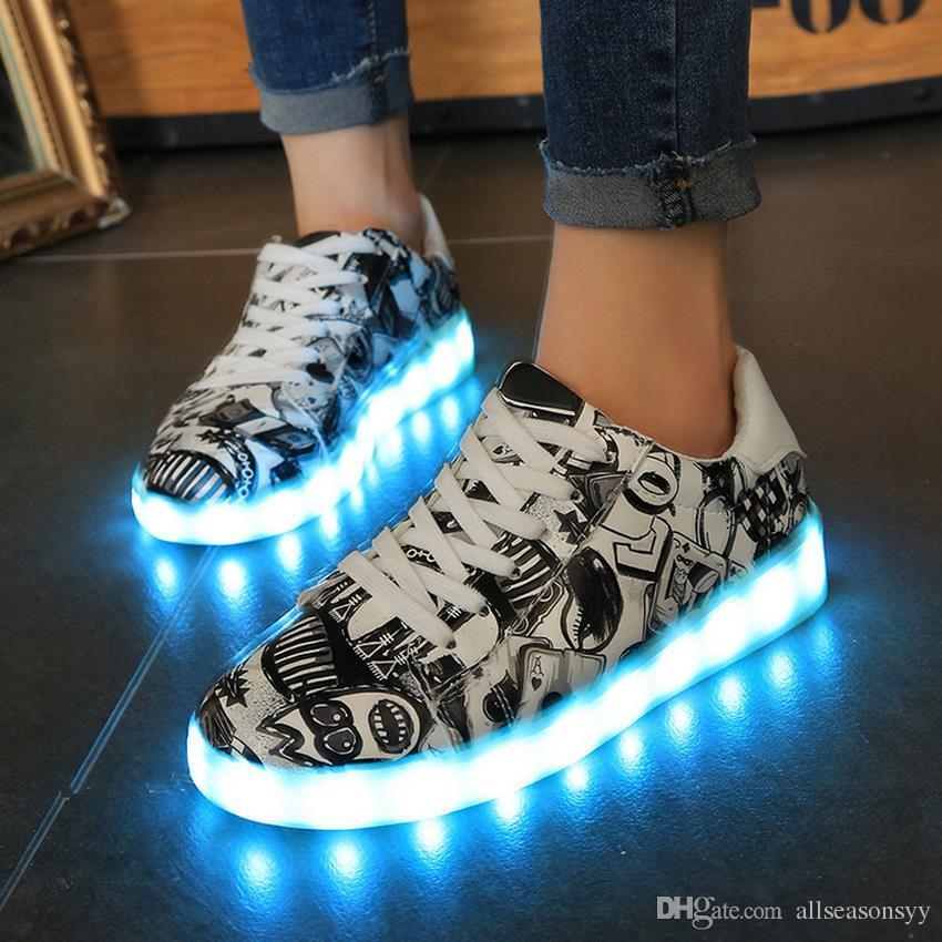 buy popular 663c6 6e3c1 2018 Hot Eur Größe 35-44 USB Charge Led Sneakers Leichte Schuhe Led Schuhe  Kinder Leuchtende Sneakers für GirlsBoys Frauen Sneakers