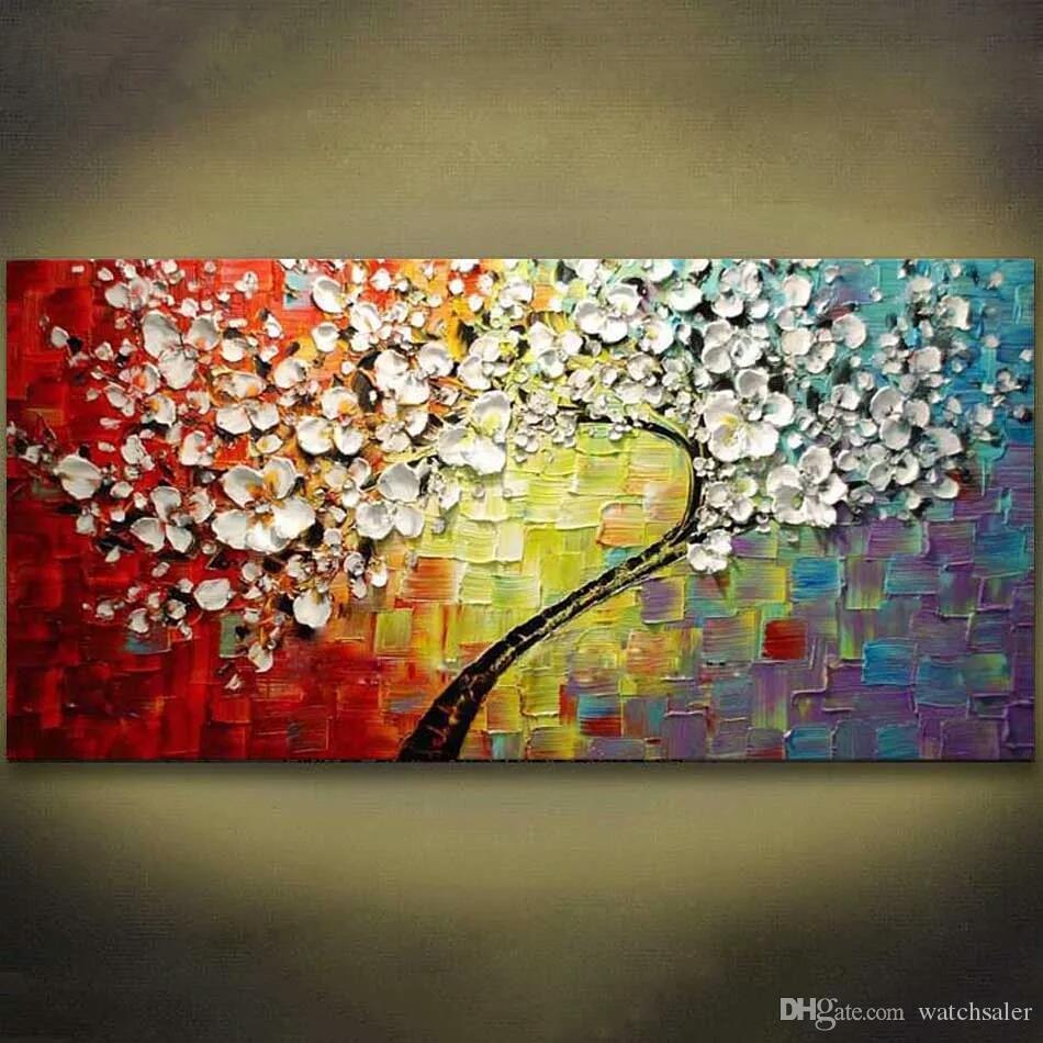 Compre 1 Paneles Colorido Arbol De Flores Pintado A Mano Pintura Al