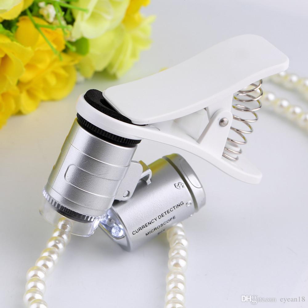 9882 W 60X di Ingrandimento Cellulare universale Microscopio LED Lente di Ingrandimento con Clip