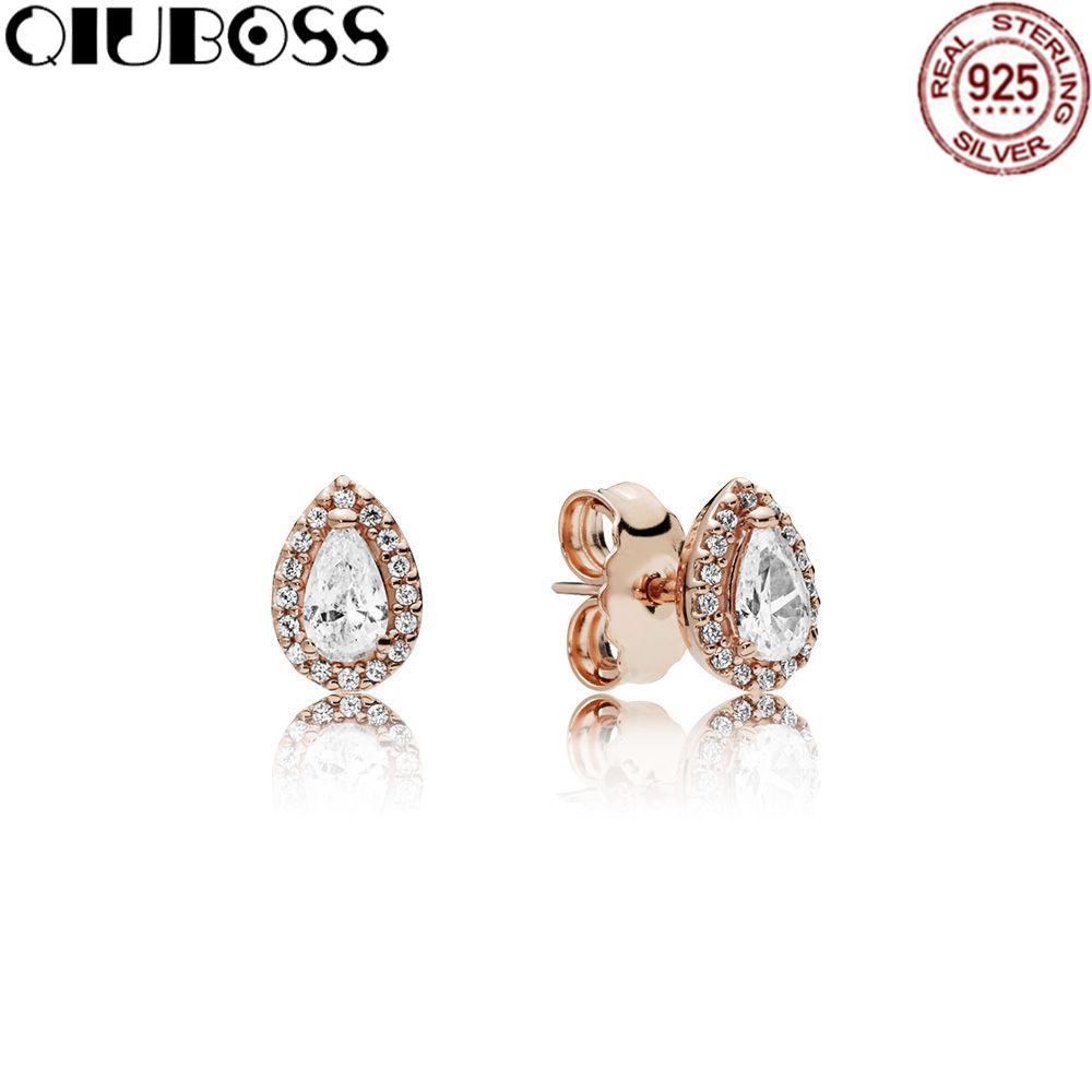 5c845d447 QIUBOSS 100% 925 Sterling Silver Earring Radiant Teardrops Earrings ...
