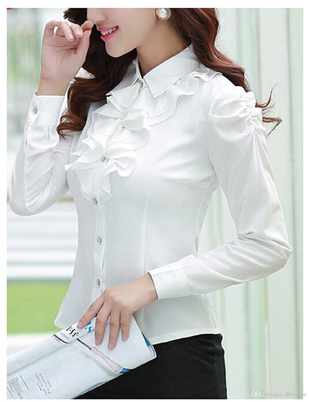 Frauen Damen Langarm OL Tops Bluse T Shirt Top Arbeit Bluse Rüschen Rüschenbluse