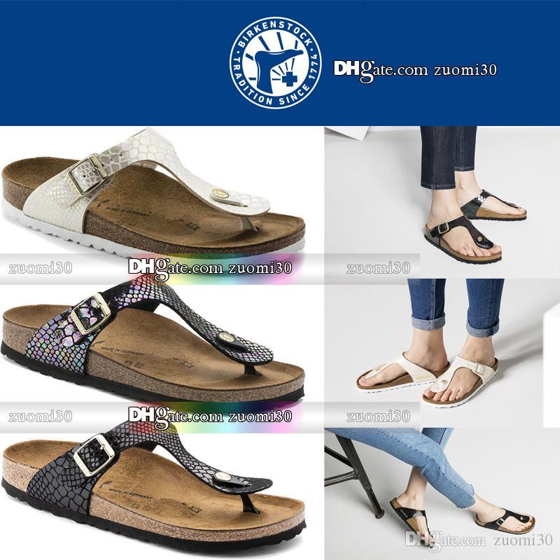 b15a4b16474 Mens Womens Cork Flip Flops Birkenstock Summer Beach Sandals Shoes Girls  Boys Buckle Platform Leather Home Slippers Indoor Flip Flops 35-46 Cork  Flip Flops ...