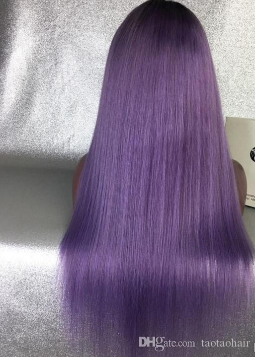 Dark roots 1b purple ombre full lace wigs human hair glueless wig two tone lace front wig ombre purple color hair wigs for black women