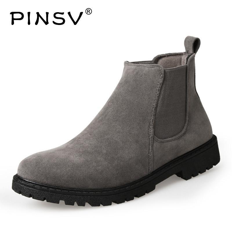 ffc3112ae7 Compre 2019 PINSV Botas Chelsea Hombre Zapatos Botines Hombres Vaca Gamuza  Botas De Cuero Para Hombres Zapatos De Moda De Otoño Bota Masculina  Zapatillas De ...