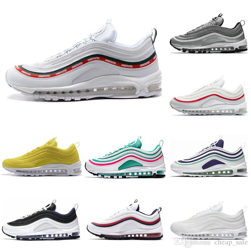 quality design 5f7a4 9018f Acheter Nike Air Max 97 Mens Luxe Jaune Moutarde Gym Rouge Triple Blanc  Sneakers Casual Designer Femmes Japon Invaincu South Beach Sports Runners  Trainer ...
