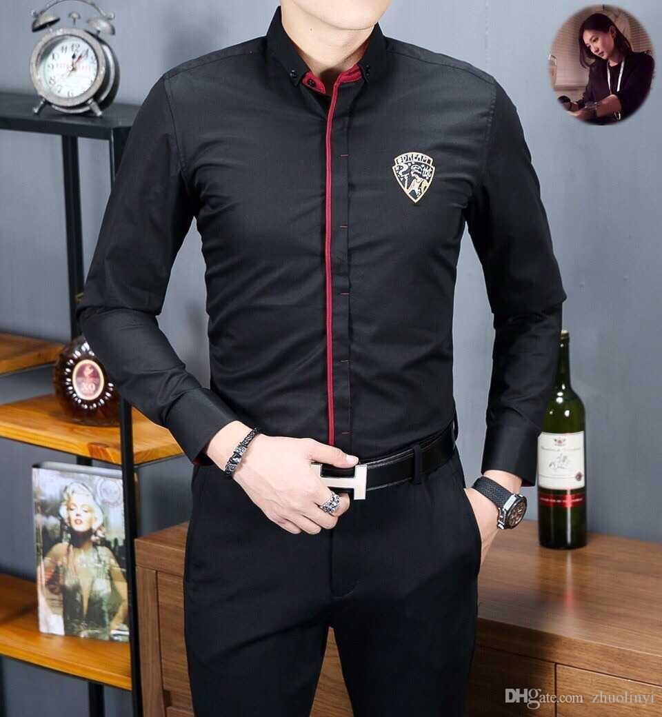 Compre 2018 Menswear Color Sólido Moda Negocio Boutique De Manga Larga  Camisa De La Empresa Tamaño M Xxxl 17c3e42dd7be5