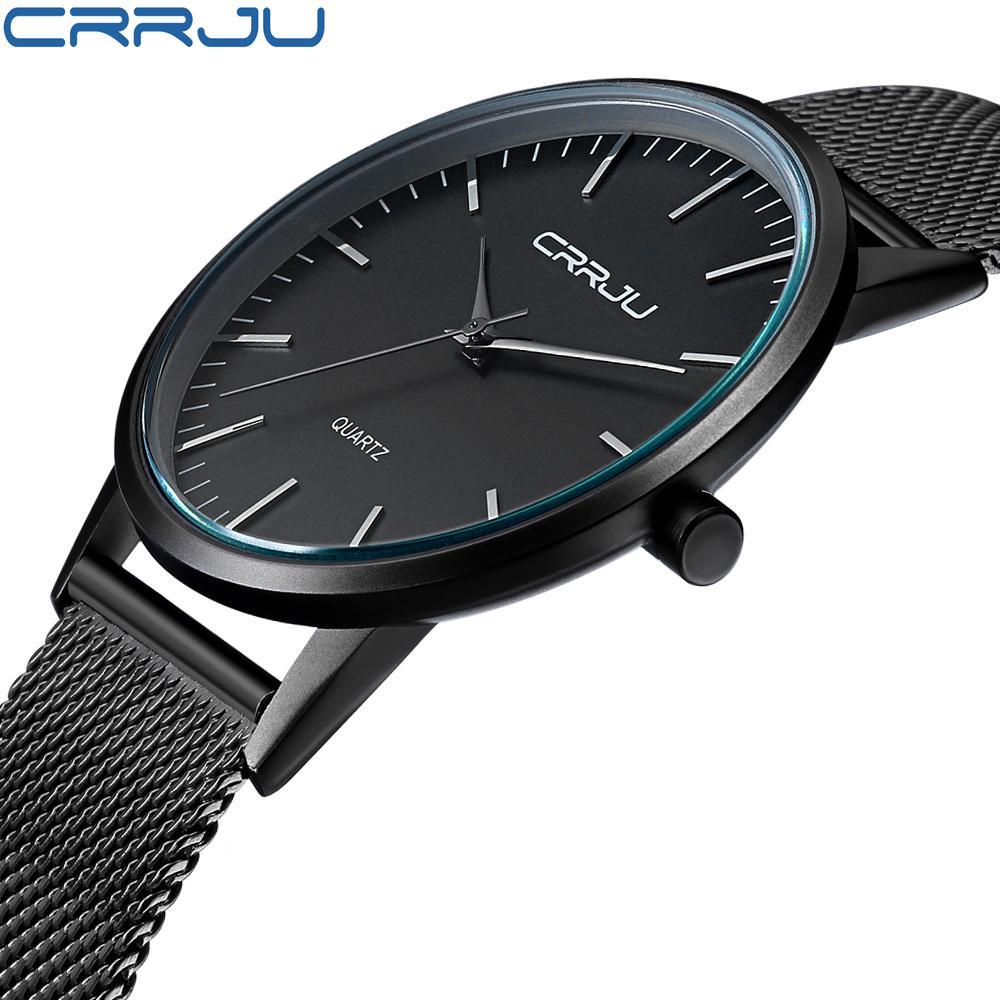 8ef93cb4fa38 Compre Nueva Moda Para Hombre Relojes De Primeras Marcas De Lujo CRRJU Hombres  Reloj De Cuarzo Banda De Malla De Acero Inoxidable Ultra Delgado Reloj ...