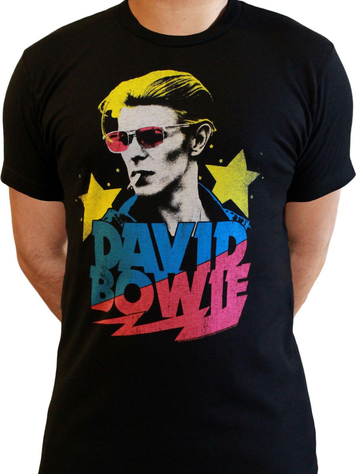 d6ec737b8 David Bowie Slash Starman Official Rock Pop Music Negro Hombres camiseta  denim ropa camiseta camiseta
