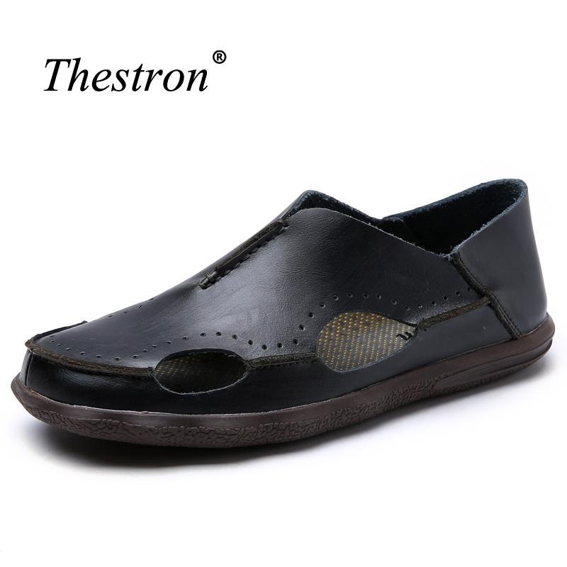 3124b70032328 Mens Leather Sandals Slip On Shoes Men Summer Comfortable Casual Shoes  Rubber Sole Flat Sandals For Men Black Wedges Platform Shoes From Shuiyong