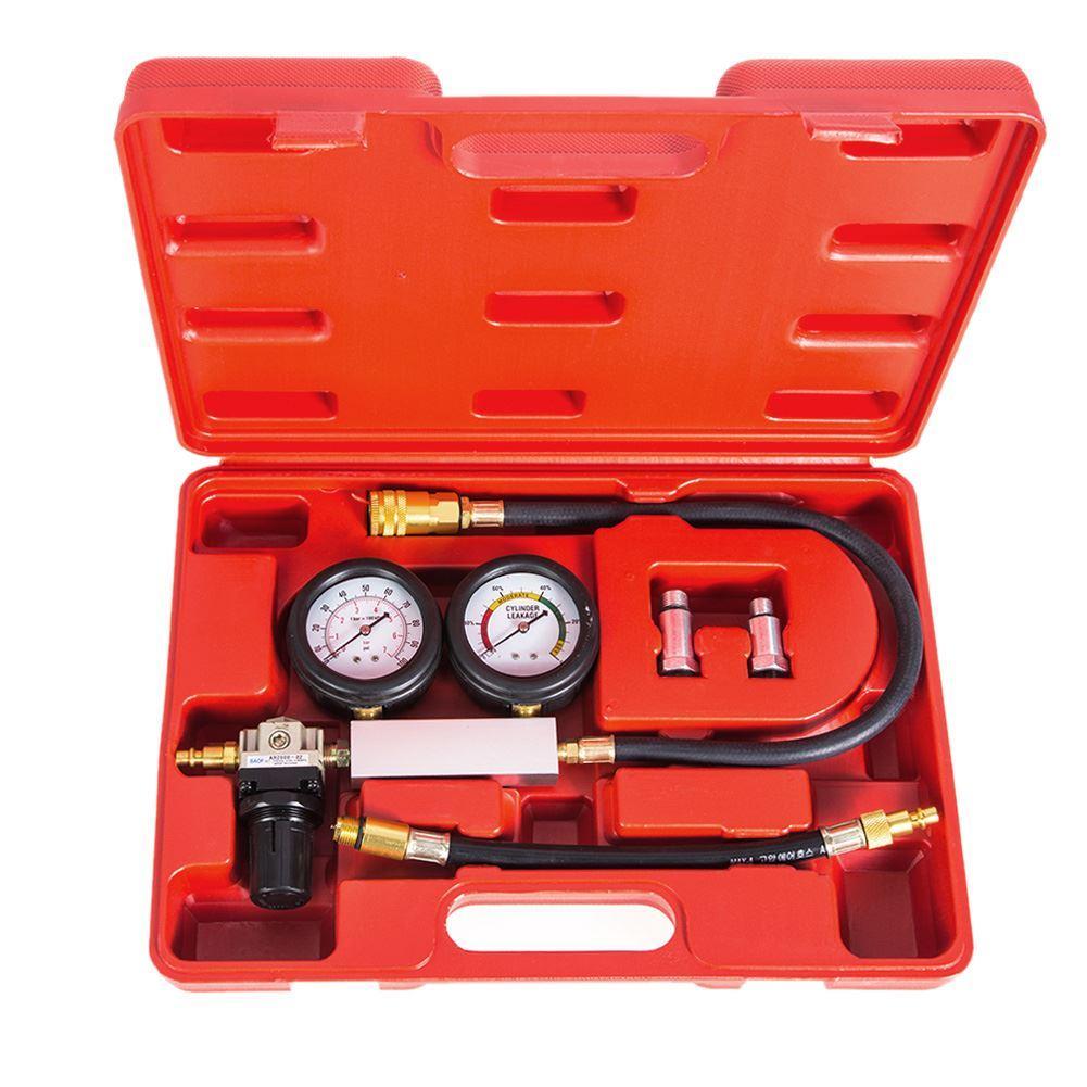 Cylinder leak tester compression leakage detector kit set Pressure Gauge Tool for Petrol Engine of 0-100PSI Double Gauge System