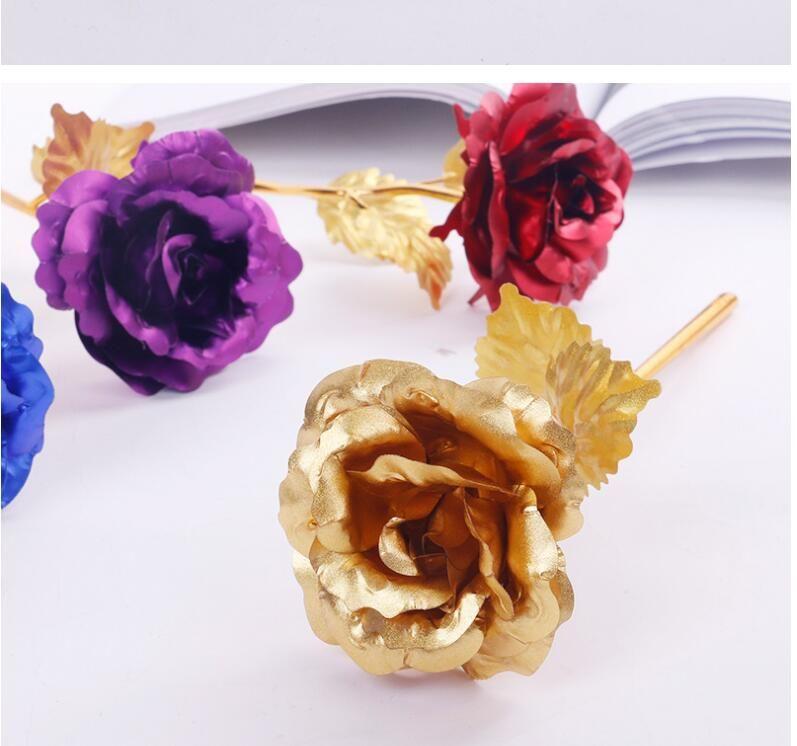 Las flores del amante 24 K Rosa Dorada Decoración de boda Flor dorada Romántico Decoraciones para el día de San Valentín Regalo Rosa de oro