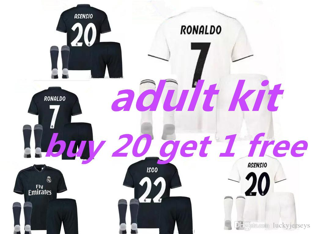 new product 6c51c 6d927 18-19 Real madrid adult kit soccer Jerseys full kits RONALDO SERGIO RAMOS  white Black JAMES BALE RAMOS ISCO MODRIC Benzema football shirts