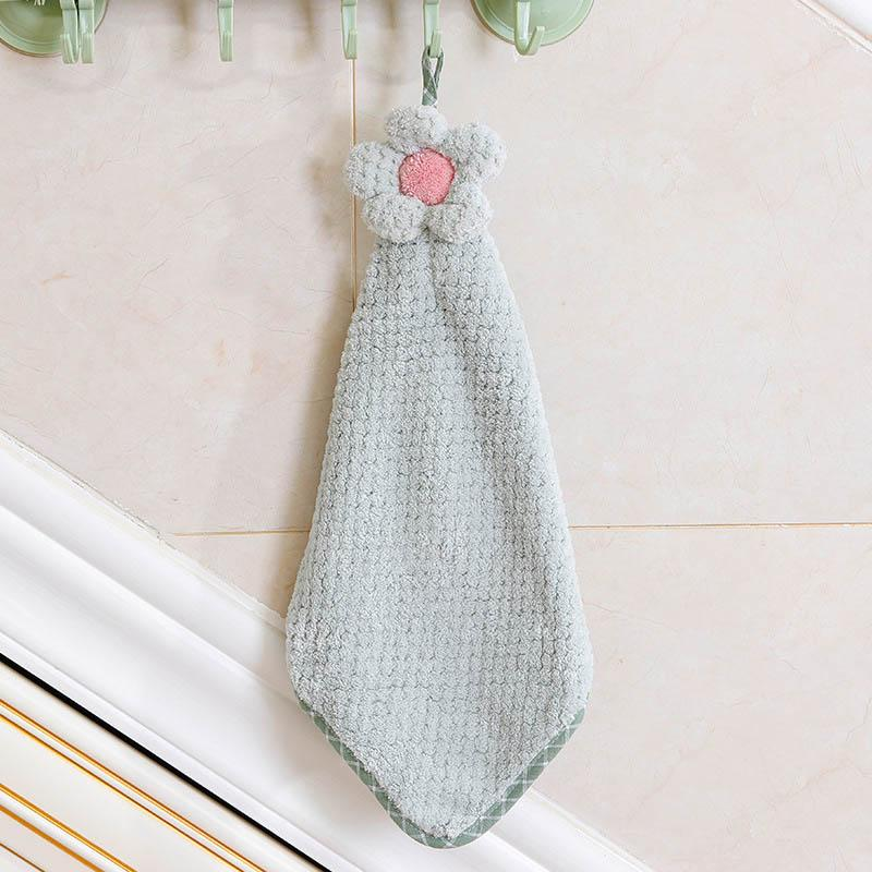 Face Hanging Flower Microfiber Hand Towels Bathroom Kitchen Towel Coral  Velvet Absorbent Lint-Free Cleaning Cloth Dishcloths