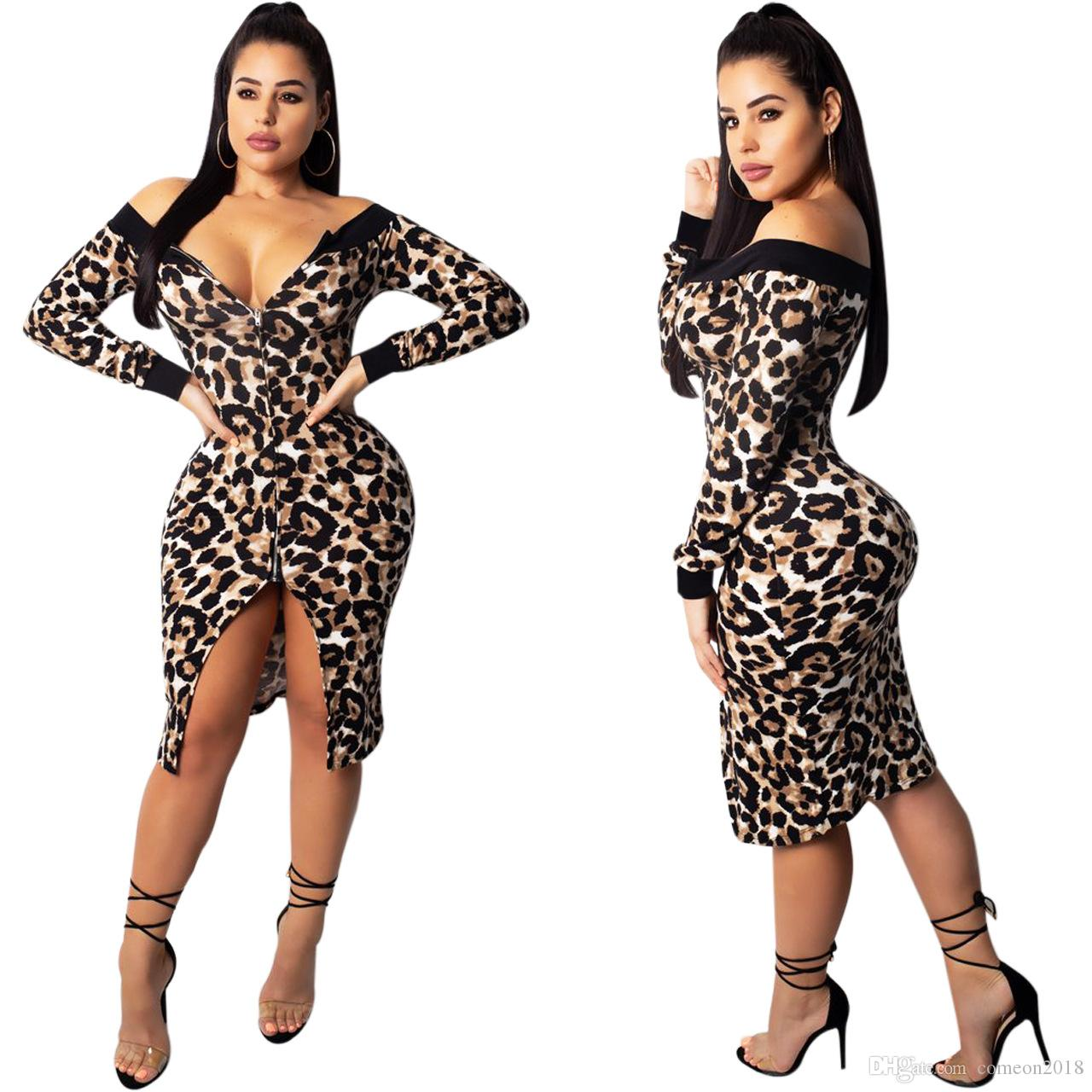 a90d7403069f5 Women Clothes Leopard Print Sexy Bodycon Club Dresses Women Casual Dress  2019 Spring Fashion Pencil Dress Split Party Dresses Vestido