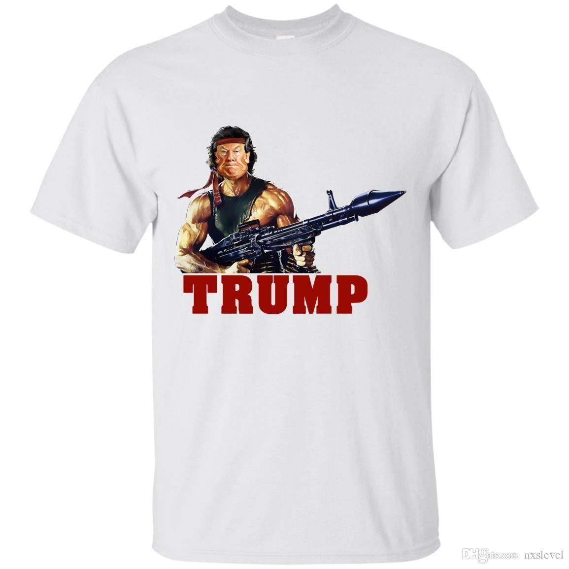 1c0d97d76 White Funny Donald Trump Rambo T-Shirt Support Trump 2020 Men's Clothing  S-4XL