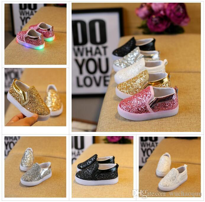 c492f7728 Kids Glowing Sneakers Baby Girls Boys LED Light Shoes Toddler Anti Slip  Glitter Sequins Sports Casual Shoes Childrens Tennis Shoes Buy Boys Shoes  Online ...