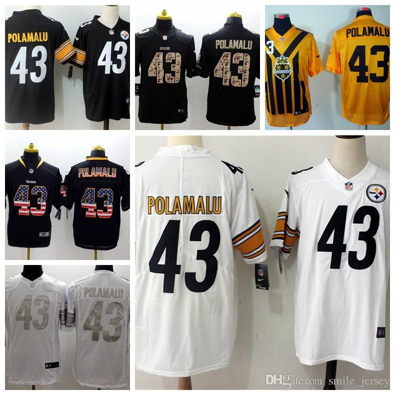 83c540123 2018 2019 New Mens 43 Troy Polamalu Pittsburgh Jersey Steelers Football  Jerseys 100% Stitched Embroidery Troy Polamalu Color Rush Football Shirts  From ...