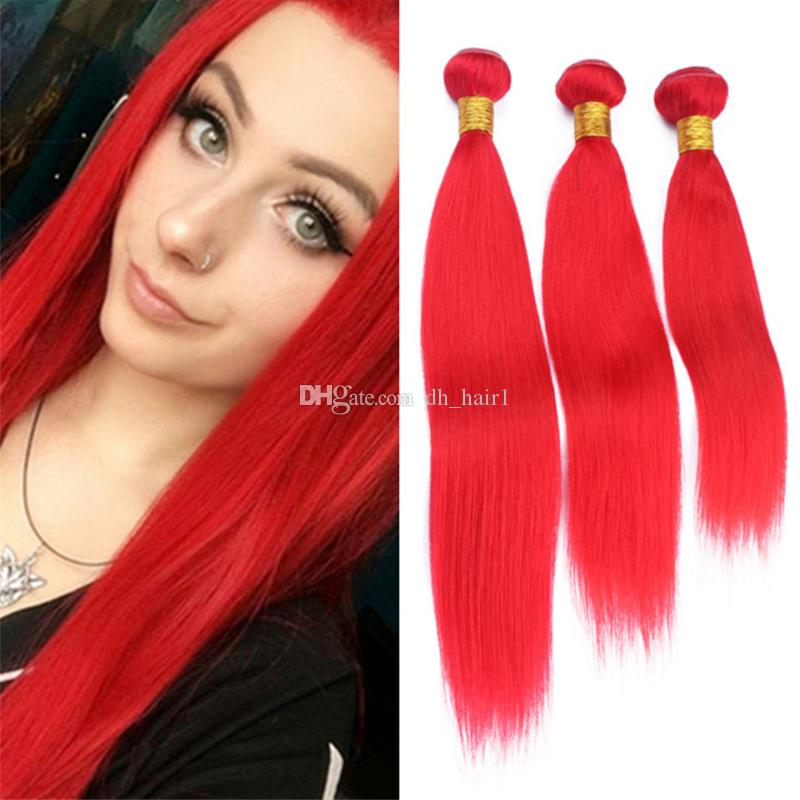 Indian Straight Red Human Hair Weave Bundles Pure Color Light Red Virgin Hair Extensions Double Weft 3Pcs Lot for Black Women