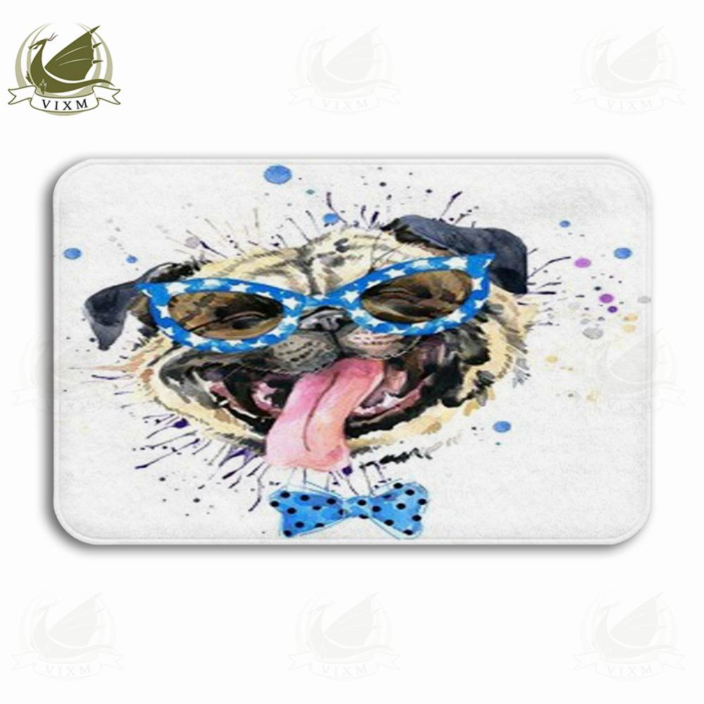 Vixm Watercolor Cute Puppy Illustration Spinning Fashion Poster Welcome Door Mat Rugs Flannel Anti-slip Entrance Indoor Kitchen Bath Carpet