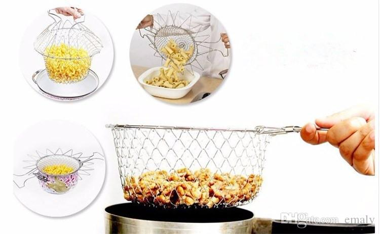 Food grade Foldable deep fry chef basket 304 Stainless steel