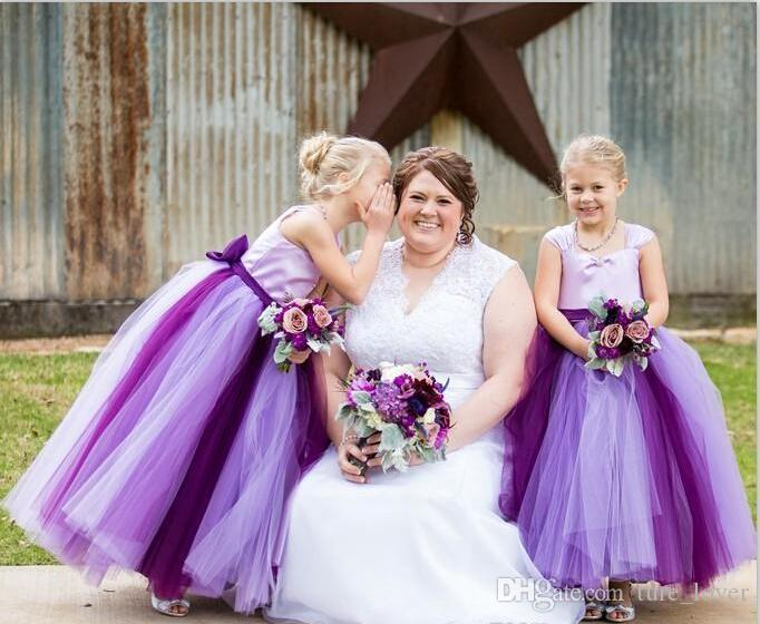 Flower Girls Dresses with Straps Two Colors Purple Wedding Daughter Little Bridal Gowns Cheap Long Flower Girls Dresses with Bow
