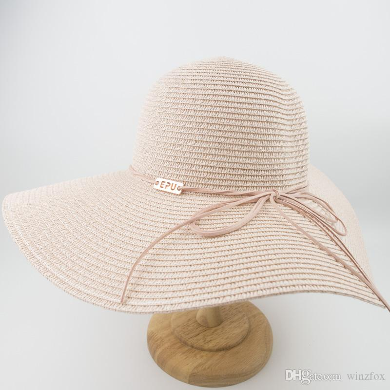 ... MH1868 New Female Ladies Cappello Di Paglia Floppy Sun Summer Beach  Protezione UV A Tesa Larga Cappellini Di Alta Qualità Cappello Pieghevole Da  Donna A ... 54e973755878