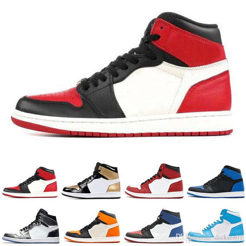 e882fa8ef79b 2018 New 1 High OG Game Royal Banned Shadow Bred Toe Basketball Shoes Men  1s Shattered Backboard Silver Medal High Quality Air Sneakers Low Top  Basketball ...