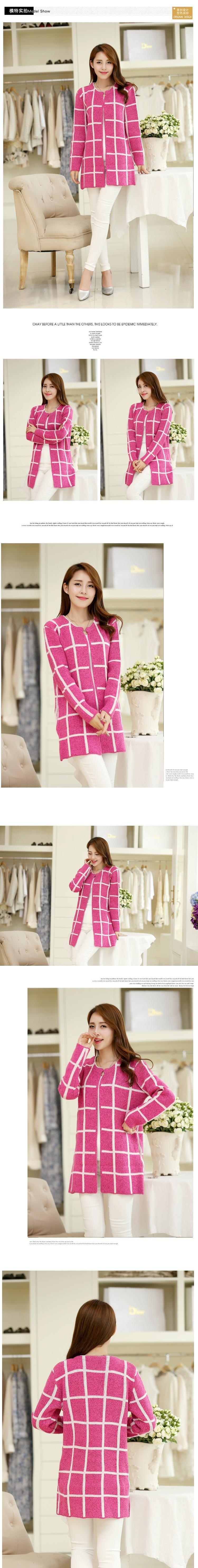 Spring Autumn Long Coat Winter Sweater Women New Korean Loose Big Yards Thin Plaid Knit Cardigan Female Vestidos LXJ253
