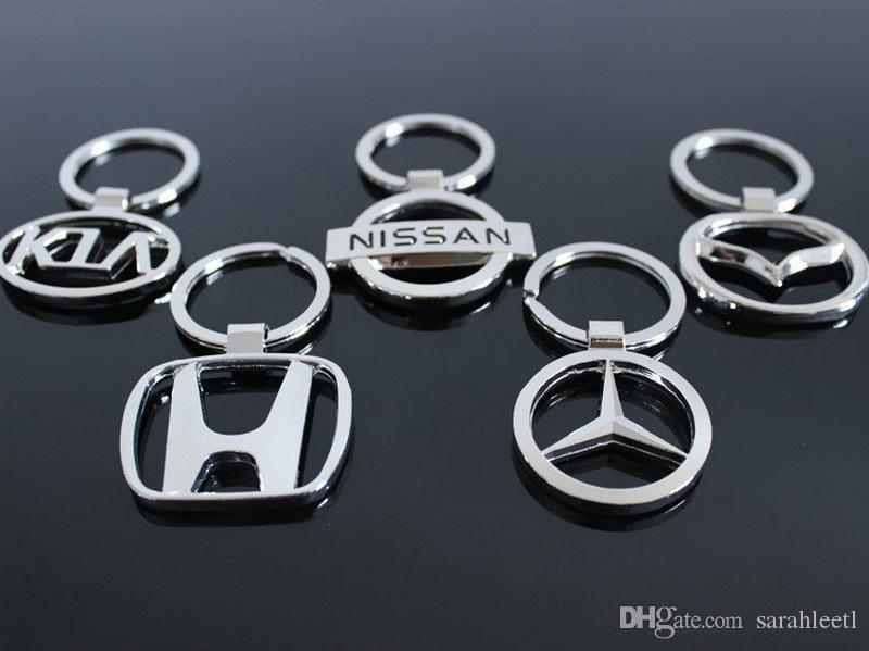 Yeni Yenilik Hediye 3D Çinko Alaşım Delikli Araba Logosu Anahtarlık Anahtarlık - neredeyse 50 Araba Logosu