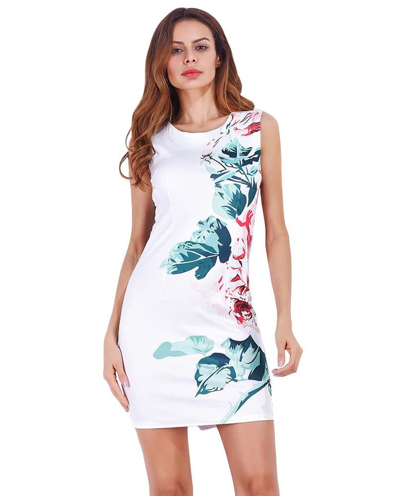 6fe305b4eca Sexy Women Elegant Mini Dress Floral Print Sundress O Neck Zip Back Split  Summer Dress 2019 Party Bodycon Pencil Dresses White Women Sundress Juniors  Party ...