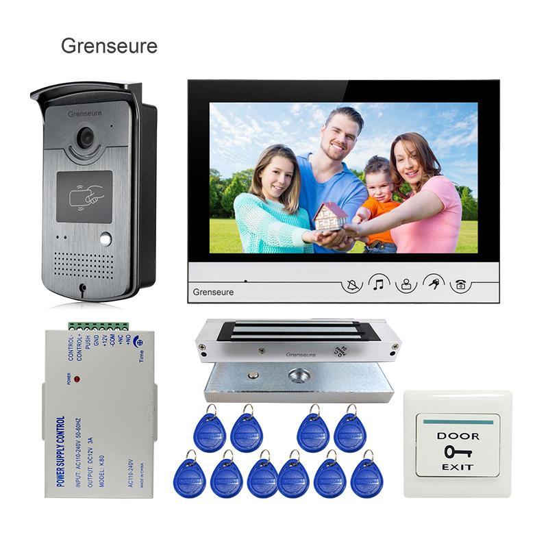 Free Shipping 9 Color LCD Screen Video Door Phone Intercom System  Waterproof RFID Access Doorbell Camera Magnetic Door Lock