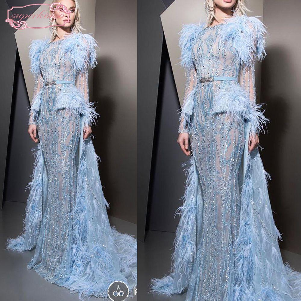 Großhandel Ziad Nakad Blue Prom Kleider Mit Zug Feder Sicke Pailletten  Crystal Mermaid Lange Abendkleider Kleider Arabisch Von Kimjobridal, 8,8  €