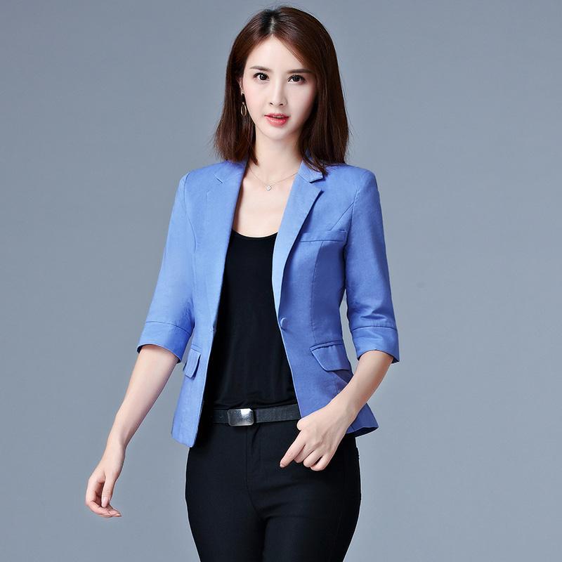 a636eedf8a6f0 Compre Azul Blanco Negro Mujeres Pequeñas Blazers Y Chaquetas Nueva  Primavera Otoño Moda Solo Botón Blazer Femenino Ladies Blazer Femenino A   28.64 Del ...