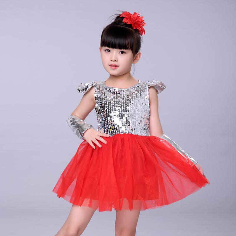 f57df8ec594ca Compre Disfraces De Danza Del Jazz Para Niñas Con Lentejuelas Rosa Blanco  Rojo Amarillo Niños Modernos Trajes De La Etapa De Actuación Vestido De La  ...