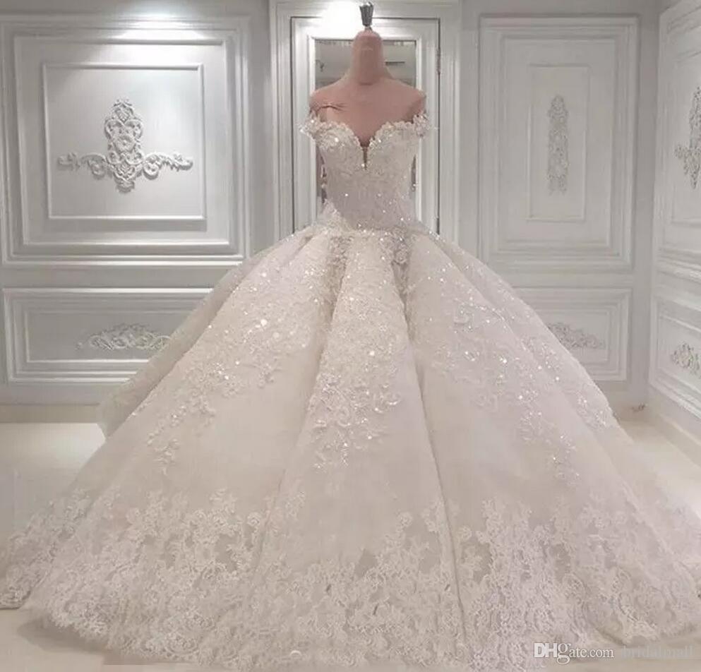 Новый 2020 Роскошные Кристаллы Кружева Бальное платье Свадебные платья Аппликации Церковь Свадебное Платье Часовня Поезд Свадебные Платья На Заказ Vestido De Noiva
