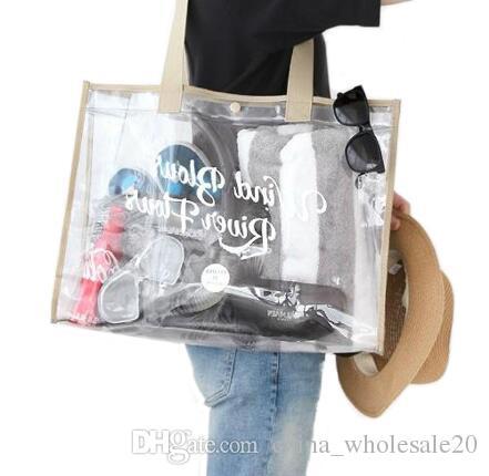 9f8f45de47ce 2019 Fashion Transparent PVC Travel Beach Bag Women Shopping Storage Bag  Clear Shoulder Handbag Organizer Summer Swim Hasp From China wholesale20